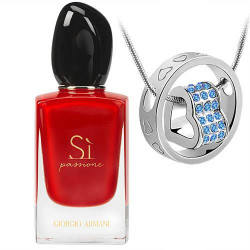Armani Si Passione EDP 100ML + Blue Swarovski Crystal Heart In Circle Pendant Combo