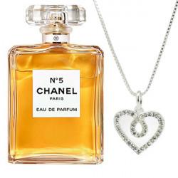 Chanel No.5 Eau De Parfum 100ML + White Gold Plated Heart Pendant Combo