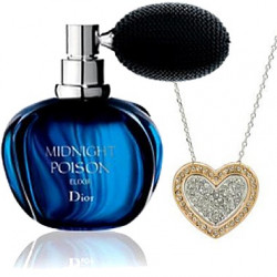 Dior Midnight Poison EDP 100ml + White & Rose Gold Plated Double Heart Pendant Necklace Combo